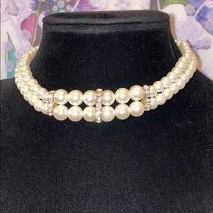 Vintage Pearl & Rhinestone Choker